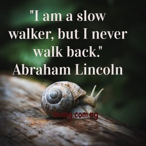 I am a slow walker, but I never walk back.