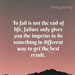To fail is not the end of life, failure only gives you the impetus to do something in different way to get the best result.