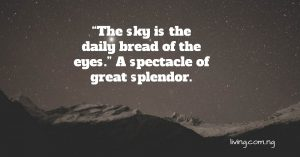 The sky is the daily bread of the air